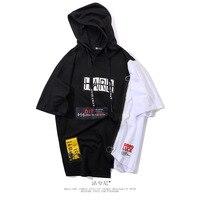 Zipper color hip hop short sleeved hooded sweatshirt men's casual pullover Harajuku streetwear lil peep mens hoodies off white