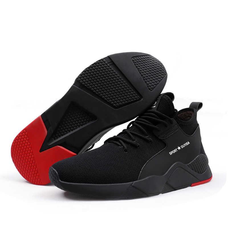 Kış erkek çelik ayak delinme geçirmez güvenlik pamuk çizmeler ile kürk ayakkabı erkekler Anti Smashing koruyucu iş ayakkabısı