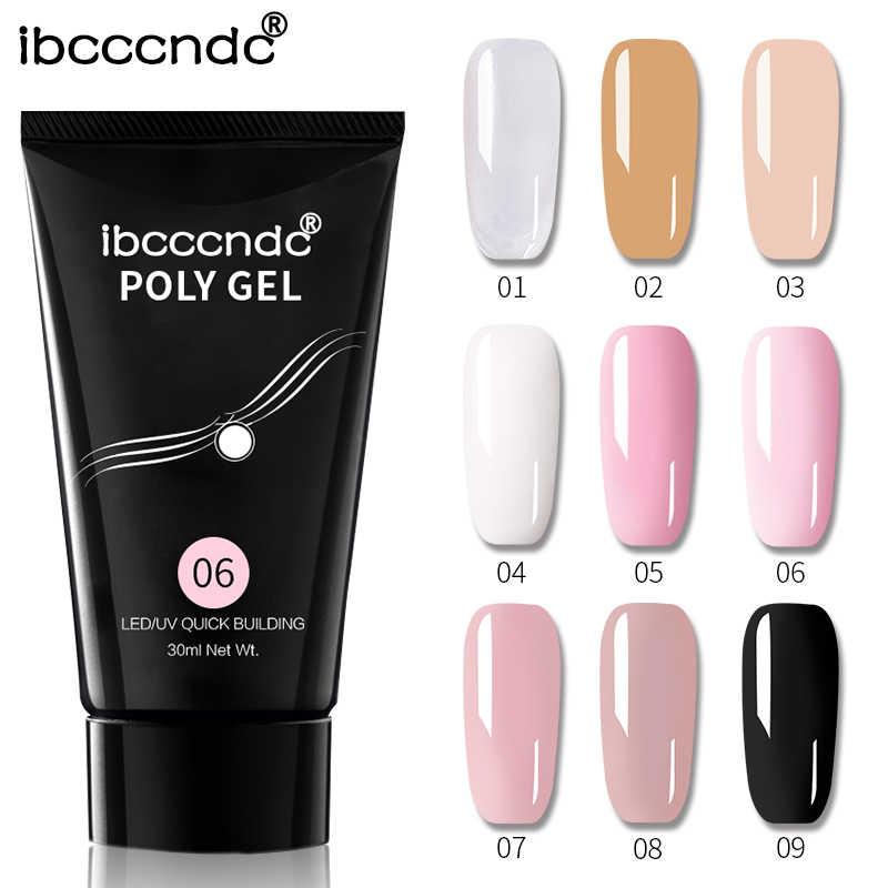 9 Kleuren Nail Acryl Harde Poly Gel Roze Wit Clear Crystal Uv Led Builder Gel Tips Enhancement Quick Extension Gel vernis