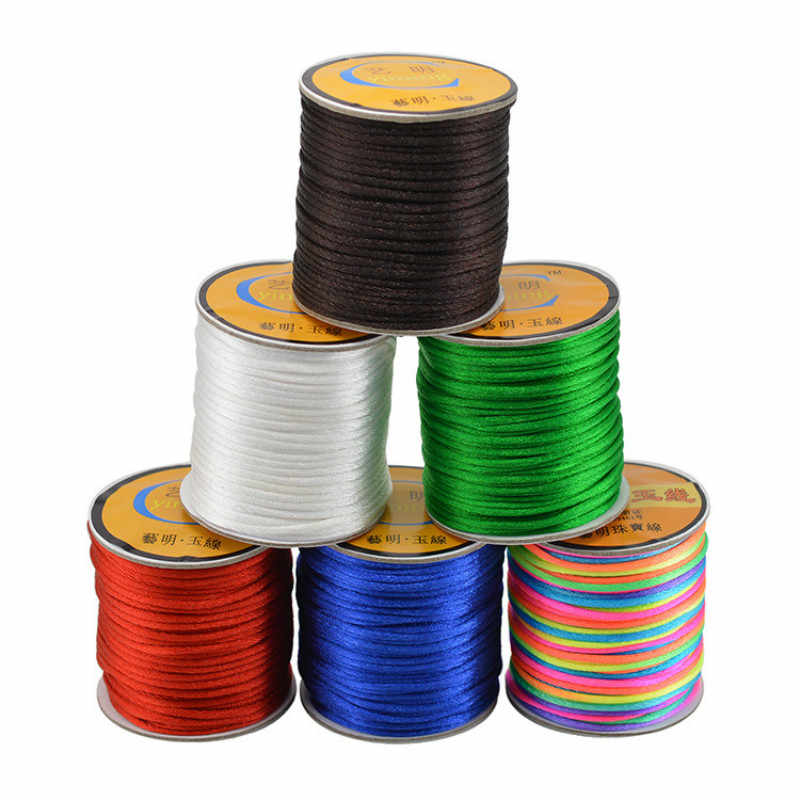 24 Colors Jewelry Findings Beading Satin Silk Nylon Thread Braid String DIY for Chinese Knot Bracelet Jewelry Making Cord 2mm