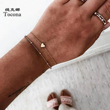 Tocona Bohemian Gold Color Heart Bracelets for Women Ladies Charm Alloy Metal Chain Simple Party Jewelry Gift Accessories B001(China)