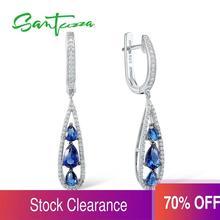 SANTUZZA Silver Earrings For Women 925 Sterling Silver Dangle Earrings Long Silver 925 with Cubic Zirconia brincos Jewelry