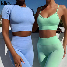 Kliou fitness sporty women tracksuit casual bra padded sleeveless v-neck crop top+leggings two piece set workout streetwear sets