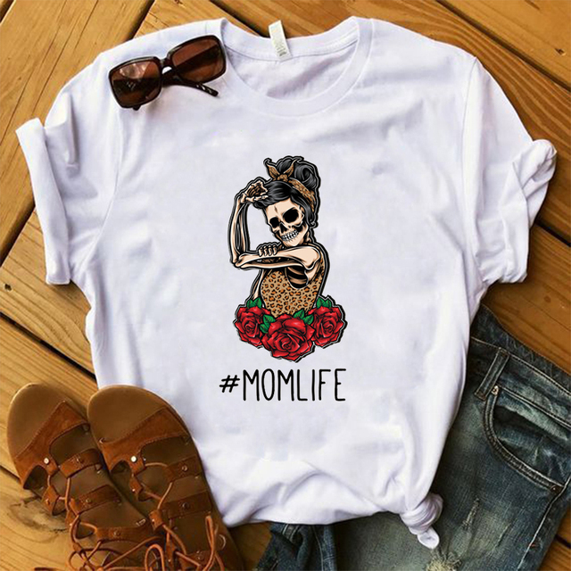 MOM LIFE SKULL T-SHIRT (2 VARIAN)