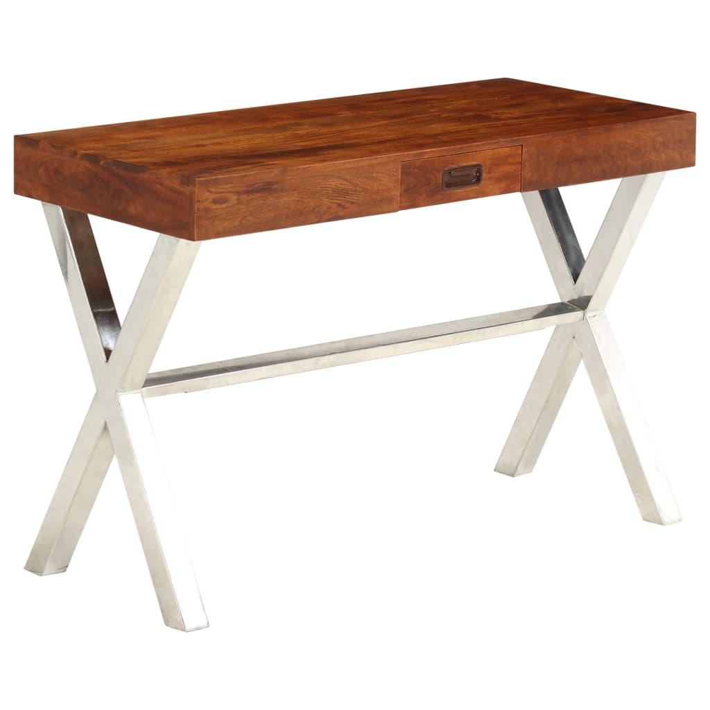 VidaXL Desk Solid Acacia Wood Sheesham Finish 110x50x76 Cm
