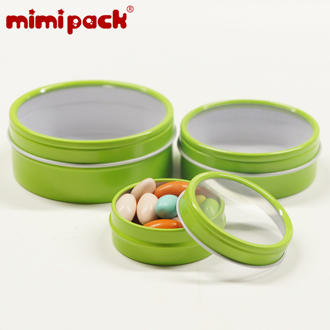 mimipack Shallow Round Clear Window Slip Top Lid Tins in 6 Colors, Snack Jewelry Storage Boxes, Pack of 24