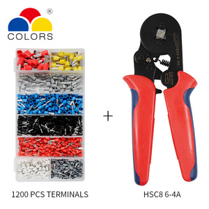 Image 2 - Adjustable Terminal Crimping Pliers Automatic Cable Wire Stripper Stripping Crimper Tool with 1200 Terminals Kit