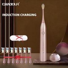 CANDOUR – brosse à dents électrique sonique CD5168, Rechargeable IPX8, étanche, 15 modes, chargeur à induction, jeu de têtes de rechange