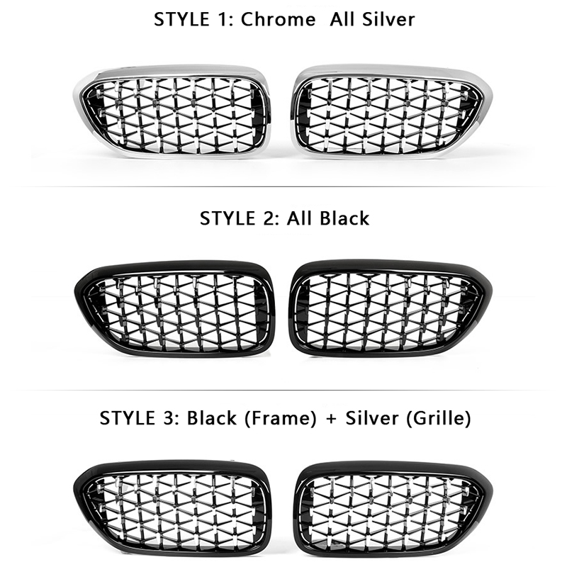 lowest price 2pcs Diamond Grille Racing Grills for BMW E90 F30 F10 G30 G11 X1 F48 X3 G01 X5 E70 F15 X6 E71 F16 Z4 E89 3 5 7 Series Trim Grill