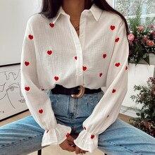 Moda nowy Casual skręcić w dół kołnierz bluzki kobiety eleganckie koszule z długim rękawem kobiety czerwone wyszywane serce topy damskie