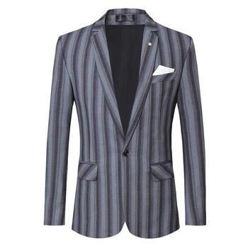 Tuxedo Blazer Jacket Men Fashion 2020 Spring Wedding Suit Jackets One Button Formal Wear Casual Stripe Blazers S-5XL