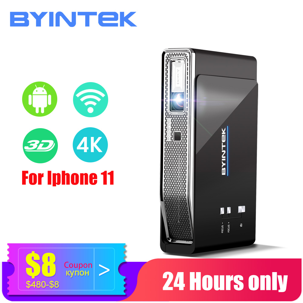 BYINTEK HD MINI 3D Projector 4K R15 ,Smart Wifi Android Beamer,Portable LED DLP Projector for 300inch Full HD 4K Home Theater