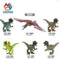 Figuras de bloques de construcción de gran mundo para niños, juguetes de regalo de plástico, Dilophosaurus, Velociraptor, Pteranodon, X0243