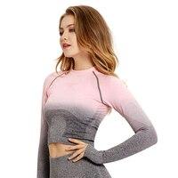 Vutru Women Yoga Set Ombre Seamless Leggings Crop Top Shirts Sports Bra Workout Sport Suit Women Long Sleeve Fitness Active Wear