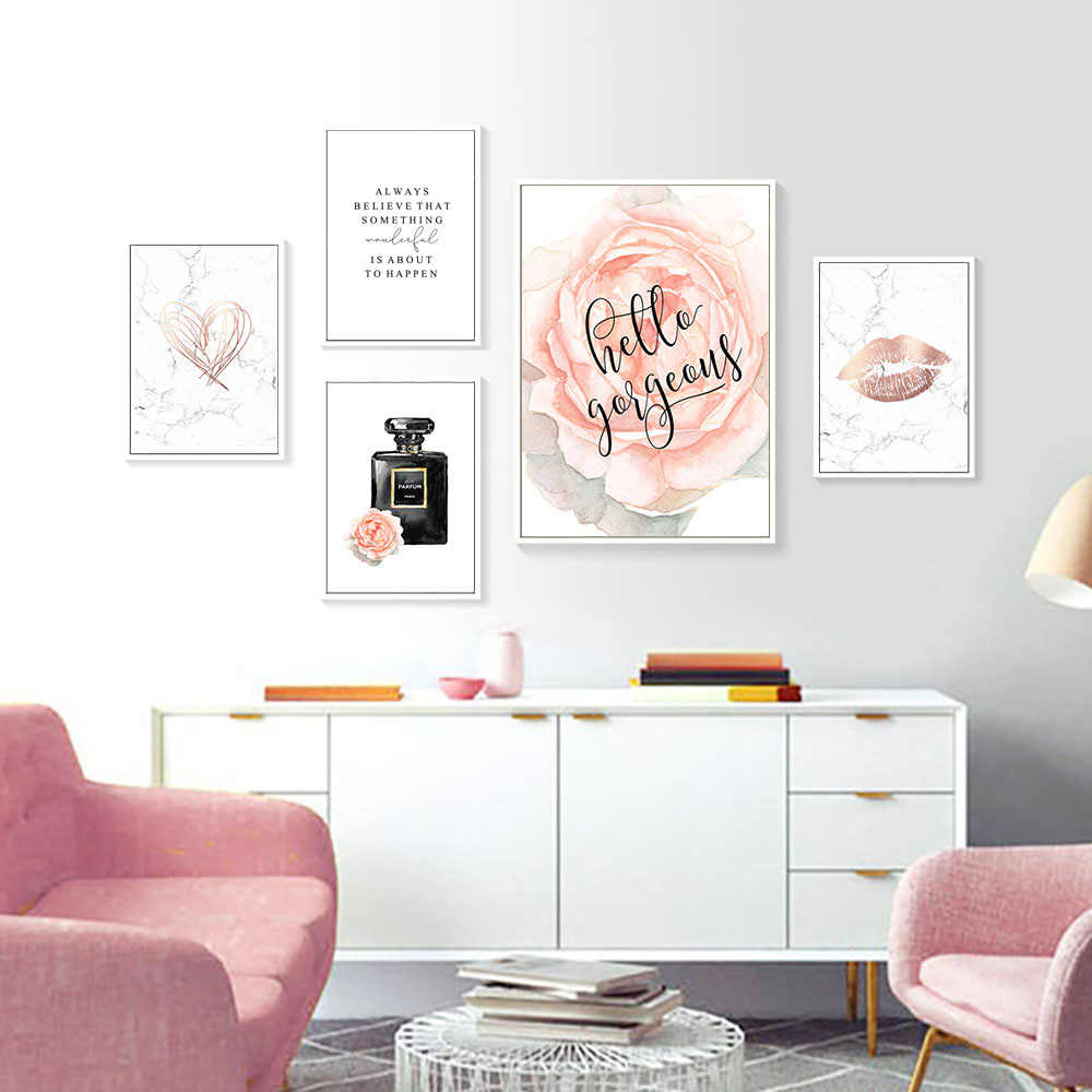 Aquarell Rose Parfüm Poster Und Drucke Lippen Zitate Leinwand Poster Skandinavischen Liebe Poster Wand Gemälde Frau Schlafzimmer Decor