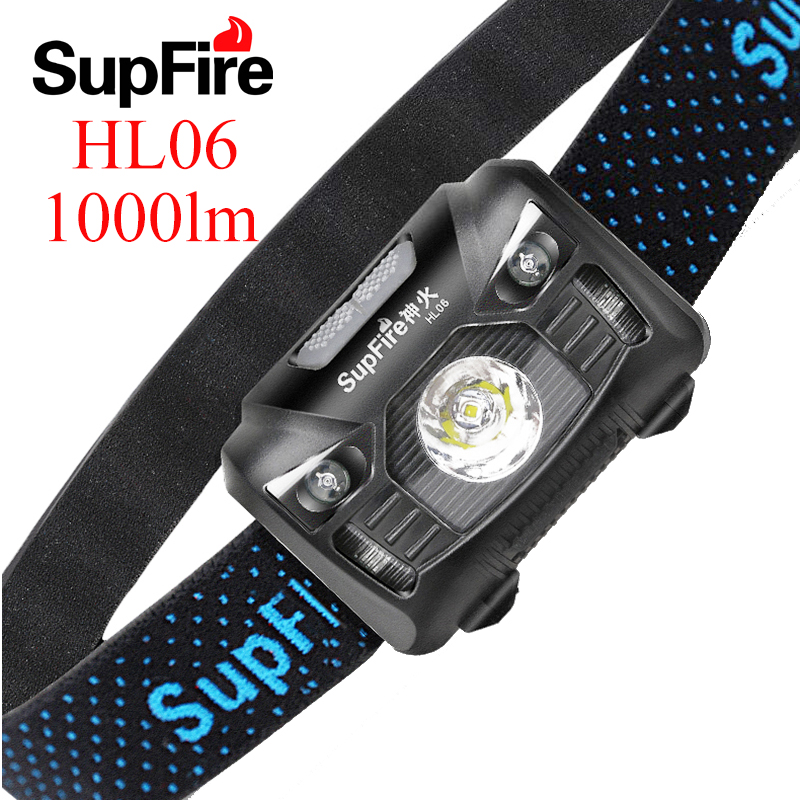 Supfire LED Headlamp Mini Headlight Linterna LED Flashlight 1000lm Fishing Head Torch HL06 USB Frontale Work Lamp Tent Light