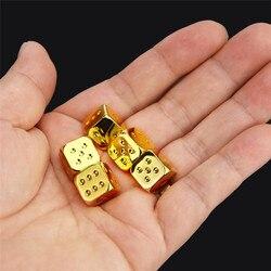 Juego de dados de Metal de seis lados, juego de mesa de seis lados, Color dorado, plateado y cobre, 13x13mm, 5 unidades