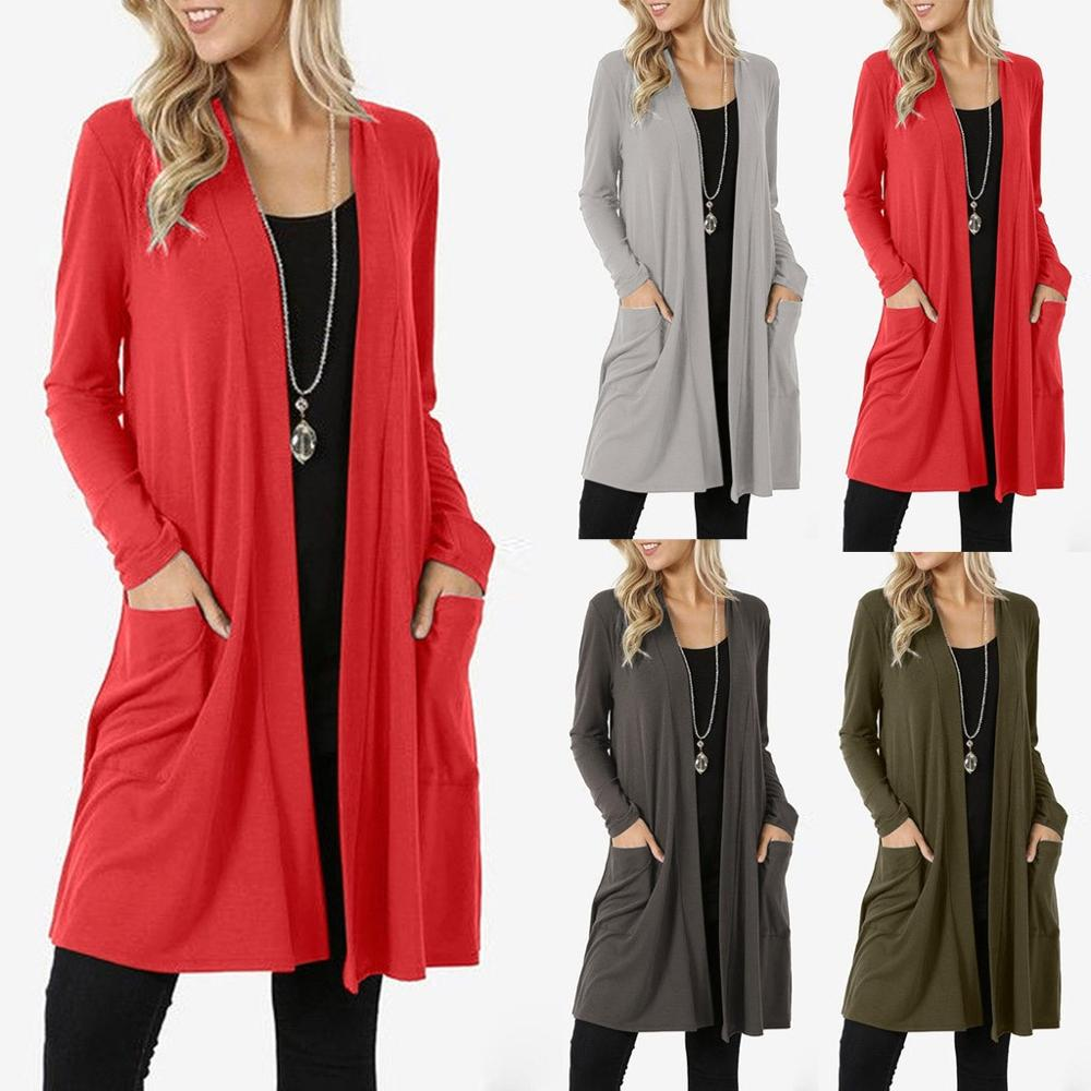 Women's Casual Solid Color Long Sleeve Open Front Loose Lightweight Kimono Cardigan Pocket Coats on AliExpress