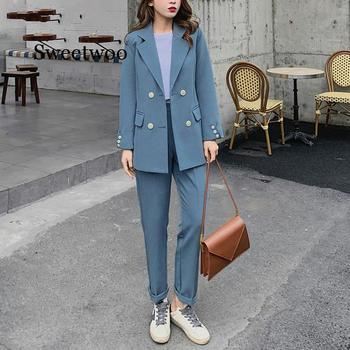 Fashion Women Blazer Suits Long Sleeve Double- breasted Blazer Pants Suit Office Ladies Two-piece Blazer Sets 2020 za women double breasted check blazer long sleeve lapel collar blazer front flap pockets double breasted front button fastening