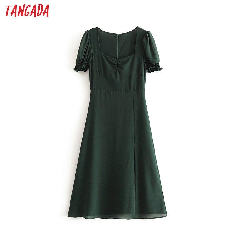 Tangada Fashion Women French Style Green Summer Dress Short Sleeve Ladies Vintage Chiffon Midi Dress Vestidos 6M02