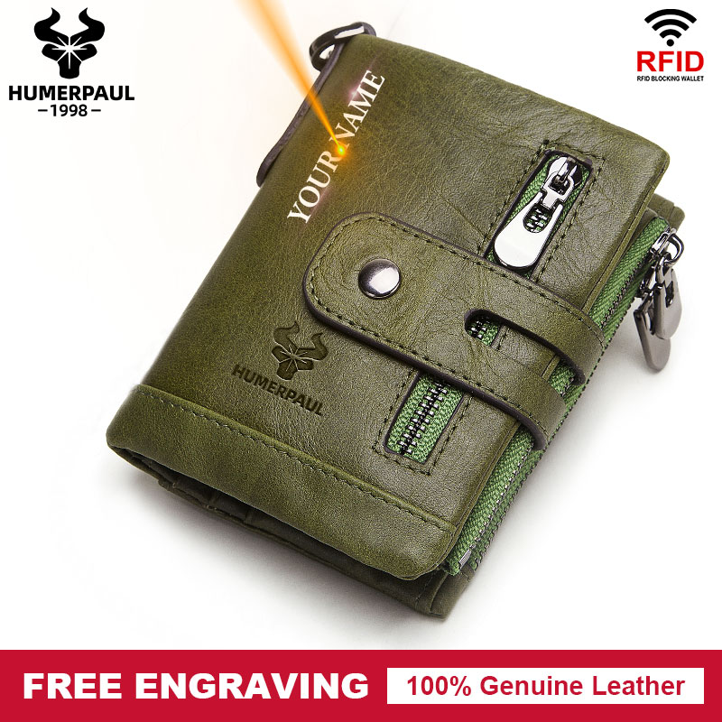 Rfid 100% Genuine Leather Men Wallet Casual Zipper&Hasp Design Small Walet Pocket Male High Quality Short Card Holder Coin Purse