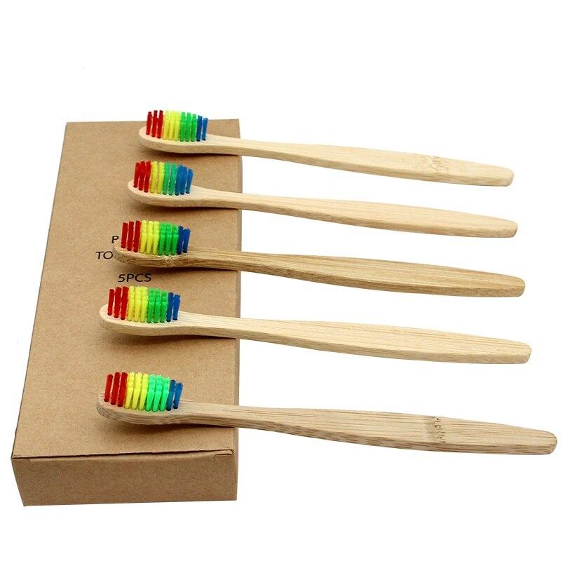 5pcs To 50pcs Rainbow Bristle Adult Bamboo Toothbrush