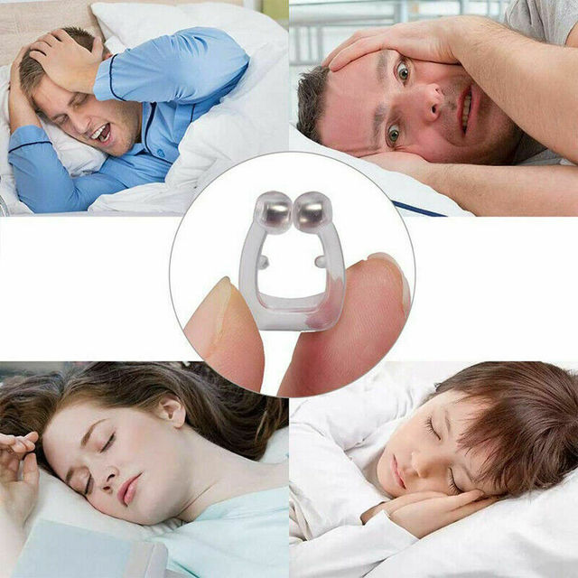 Silicone Magnetic Anti Snoring Nose Breathing Snore Stopper Antisnoring Device for Sleeping Apnea Nose Clip with Carrying Case