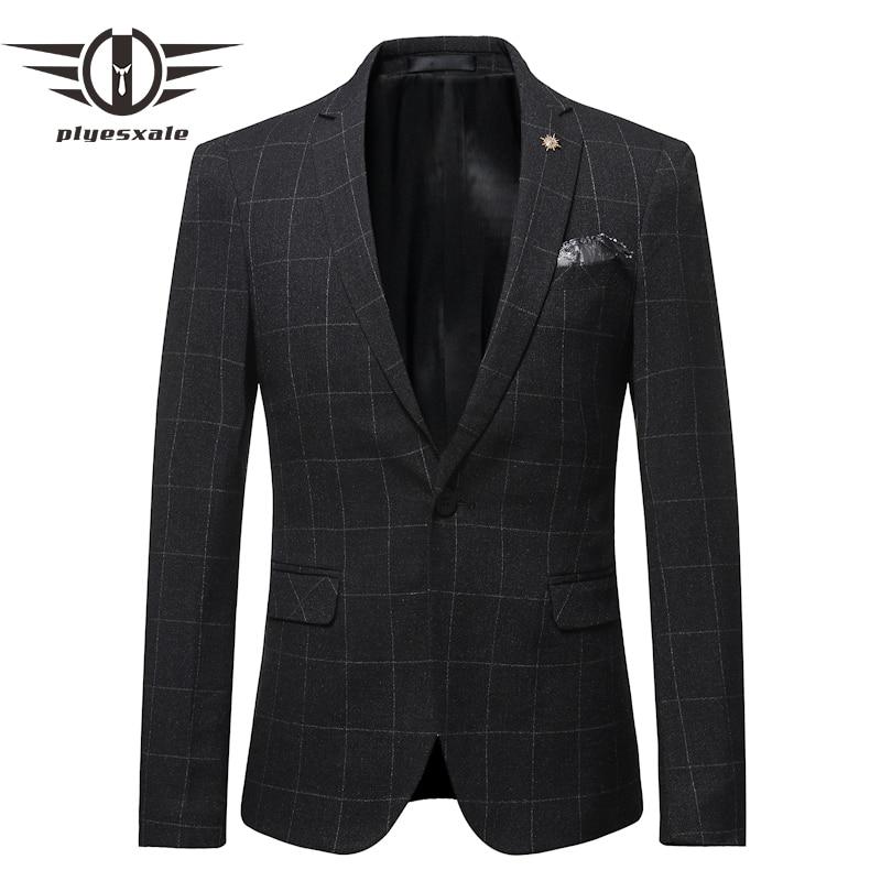 Plyesxale Men Plaid Blazer Jacket Classic Black Navy Blue Casual Blazers Men Slim Fit Autumn High Quality Work Male Blazer Q564