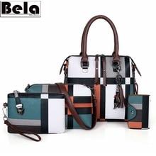 BelaBolso Conjunto de 4 bolsos de cuero a cuadros para mujer, bolso de hombro con borlas, cruzado, HMB651