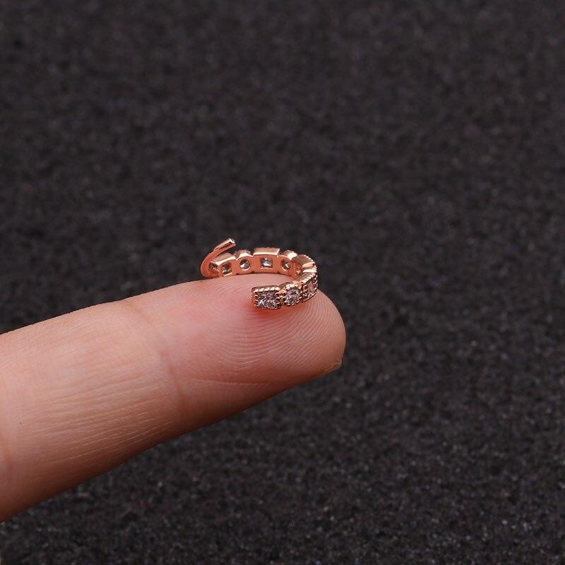 1PC 8mm Rose Gold Tone Hoop Earring Tragus Rook Snug Ear Piercing Jewelry CZ Helix Cartilage Piercing