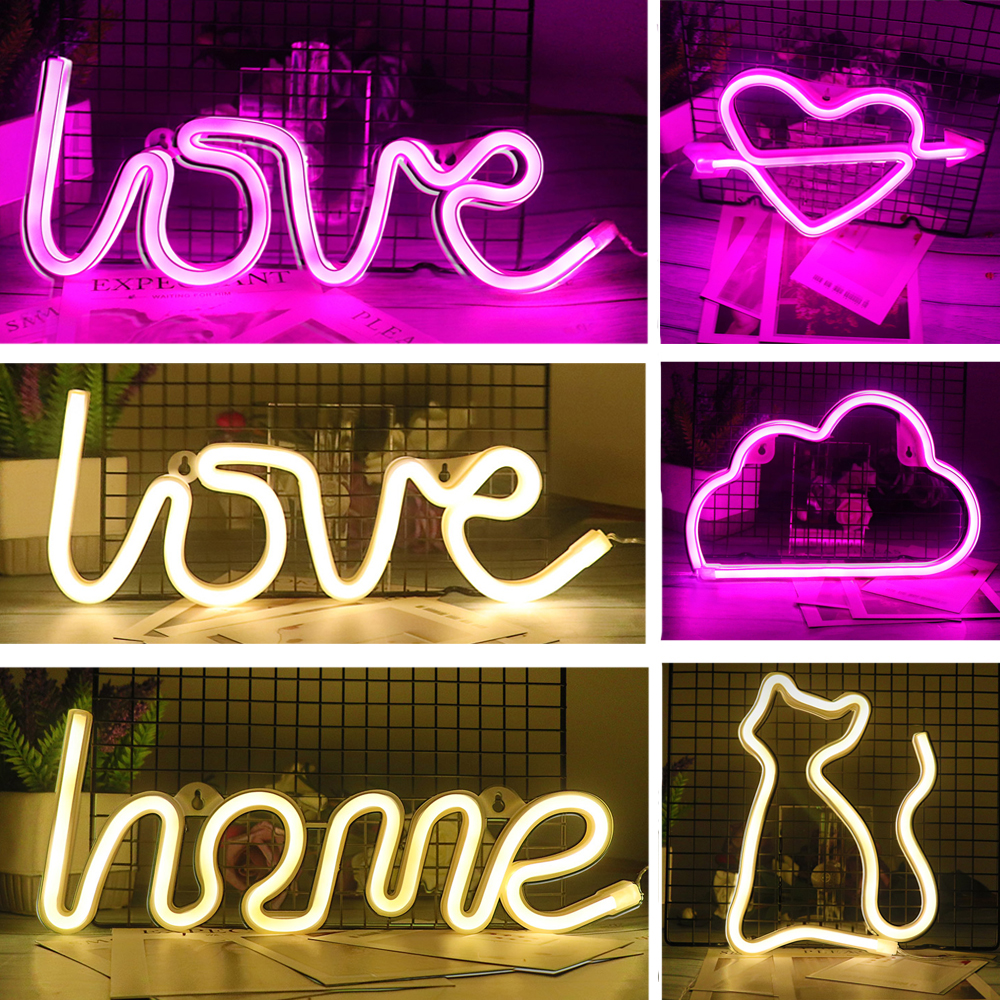 Creative LED Neon Light Teken LIEFDE HART Wedding Party Decoratie Neon Lamp Valentijnsdag Anniversary Home Decor Night Lamp Gift