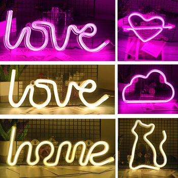 Creative LED Neon Light Sign LOVE HEART Wedding Party Decoration Neon Lamp Valentines Day Bedroom Home Decor Night Lamp Gift
