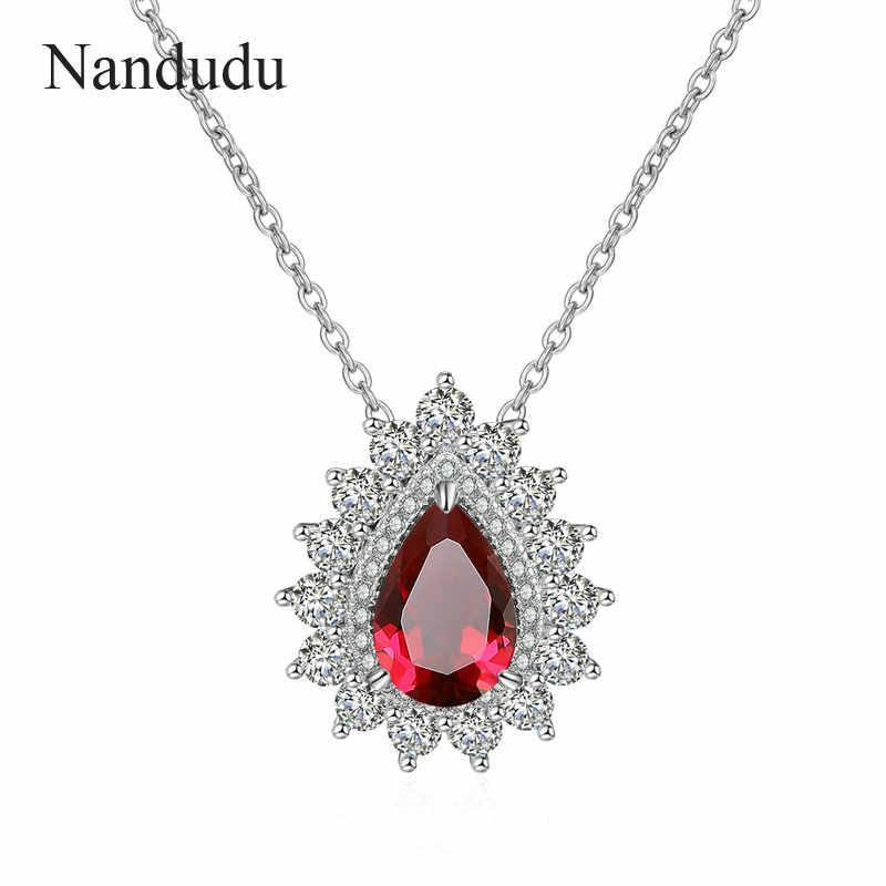 Nandudu ใหม่โกเมนสีแดงหินจี้สร้อยคอสำหรับสตรีน้ำ AAA Cubic Zircon Silver Chain เครื่องประดับเครื่องประดับ CN535