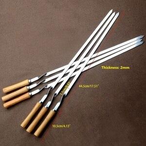 """Image 2 - Ensemble de brochettes pour Barbecue en acier inoxydable, 55cm, 21.5 """", Long manche en bois plat, aiguille pour Barbecue, Barbecue, outils dextérieur, 6 pièces"""
