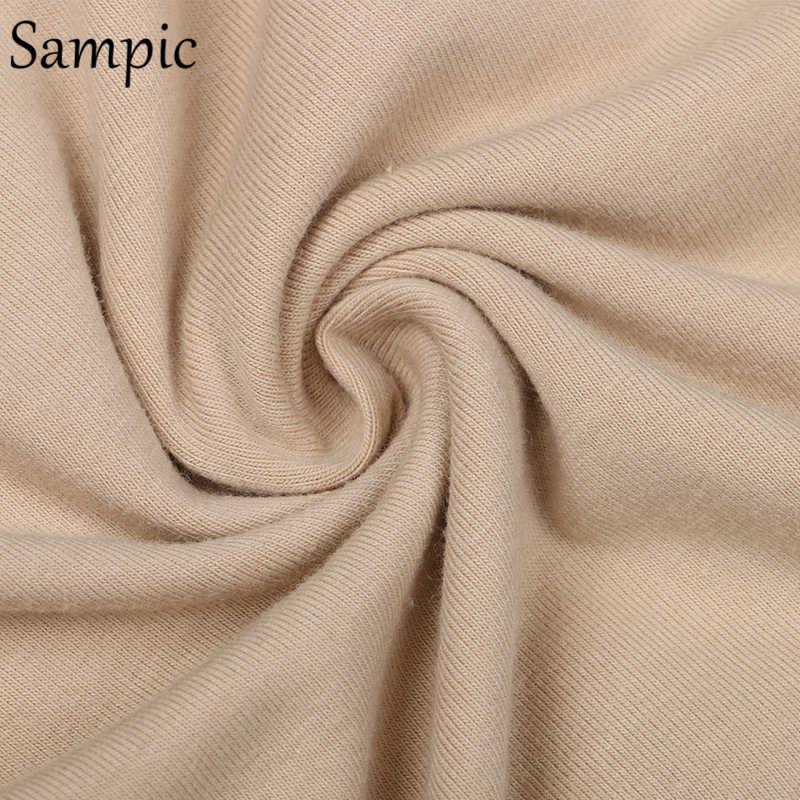Sampicファッション白カーキセクシーな女性の夏のoネック半袖シャツトップスとボディコンショーツボトムスーツツーピースを設定します