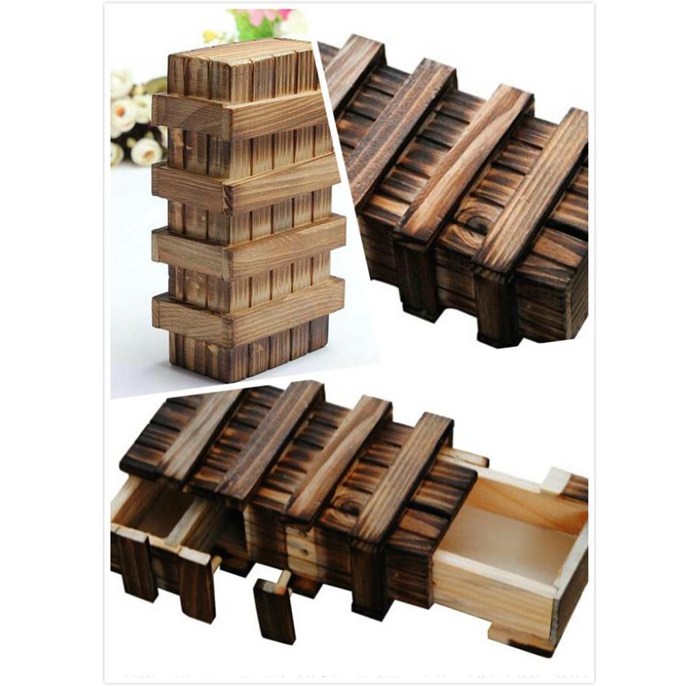 Vintage Holz Geheimnis Schublade Magic Box Fach Holz Puzzle Box Gehirn Teaser Holz Spielzeug Kinder Puzzles Boxen Pädagogisches Geschenk