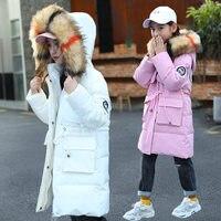 Зимнее пальто для девочек-подростков С Меховыми Капюшонами для детей, длинный зимний стеганый пуховой жакет с меховым капюшоном, верхняя од...