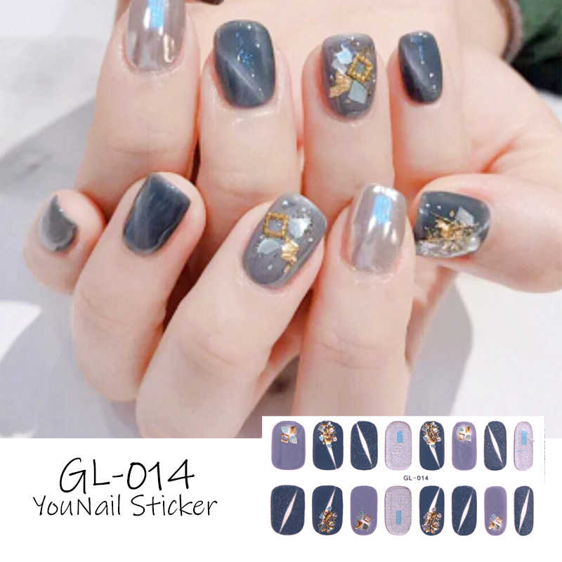 Lamemoria 16Tips Nail Stickers Wraps Decoration for Beauty Nail Art Decals Plain Stickers Self Adhesive Shining Nail Stickers