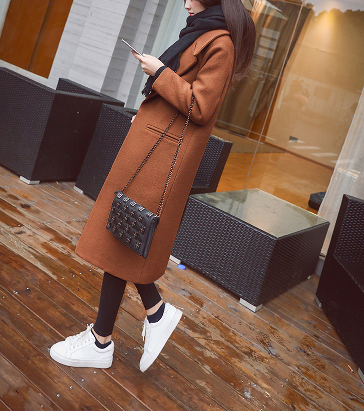 Women Winter Black Long Wool Coat Streetwear 2019 Ladies Trench Korean Fashion Female loose Clothing Windbreaker