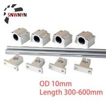 2pcs Optical Axis Linear Rail Shaft OD 10mm Length 300mm 400mm 500mm 600mm+4pcs SCS10UU Bearing Blocks+4pcs SK10 Bearing Support cnbtr 5pcs 500mm 12mm perpendicular optical axis shaft support slide bushing