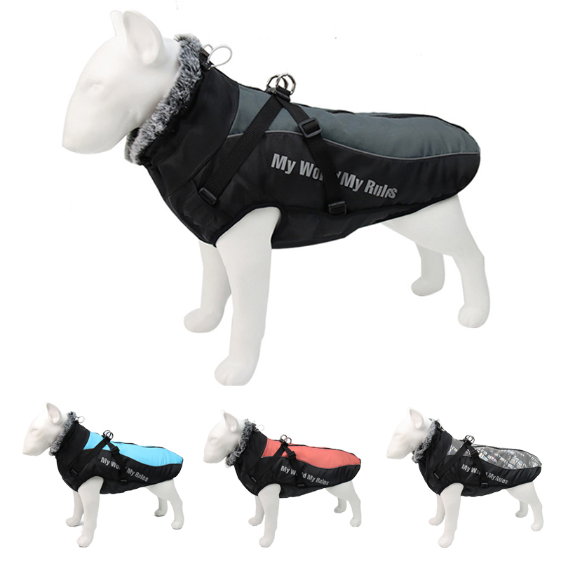 Thick Dog Coat Clothes Reflective Dogs Harness Clothes Vest Waterproof Pet Clothing With Fur Collar Large Dogs Jacket Outfit