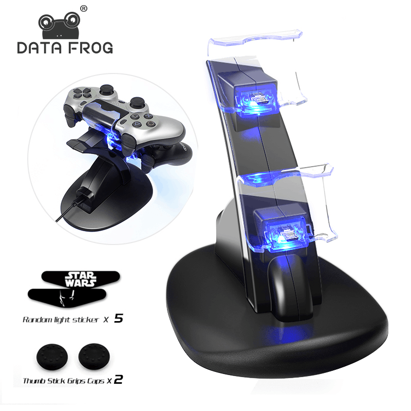 for Sony PS4 Charger Station Stand with Charge Cable for Playstation 4 PS4 Dual Charge Dock for PS4 Controller Charging Base LED