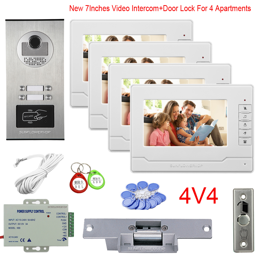 Multi Apartments Videophone Rfid Cards Camera 2 To 6 Buttons Wired Video Doorbell 7Inches New Monitor With Eectric Door Lock