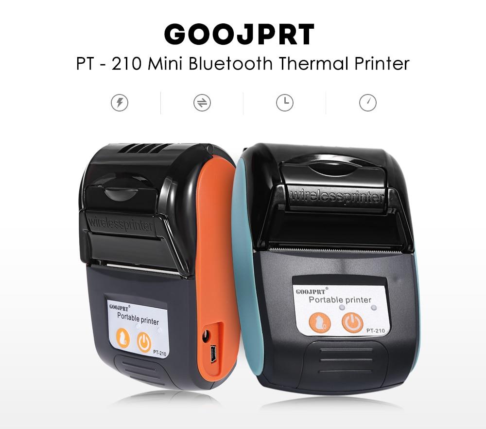 Goojprt PT-210 Wireless Mini 58mm Portable Printer Thermal Receipt Printer For Mobile Phone Android Ios Windows Pocket Bill