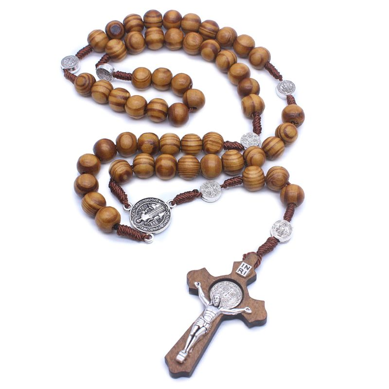 Fashion Handmade Round Bead Catholic Rosary Cross Religious Wood Beads Men Necklace Charm Gift D08F