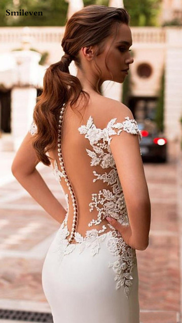 Smileven Mermaid Wedding Dress 2020 Satin Cap Sleeve Vestido De Noiva Lace Bohemian Bride Dresses With Romantic Buttons 4