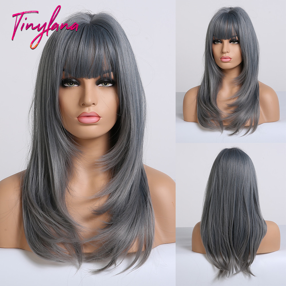 TINY LANA Ash Blue Long straight Hair with Bangs Synthetic Wig for Women Lolita&Cosplay High Temperature Fiber Layered Wigs afroSynthetic None-Lace  Wigs   -
