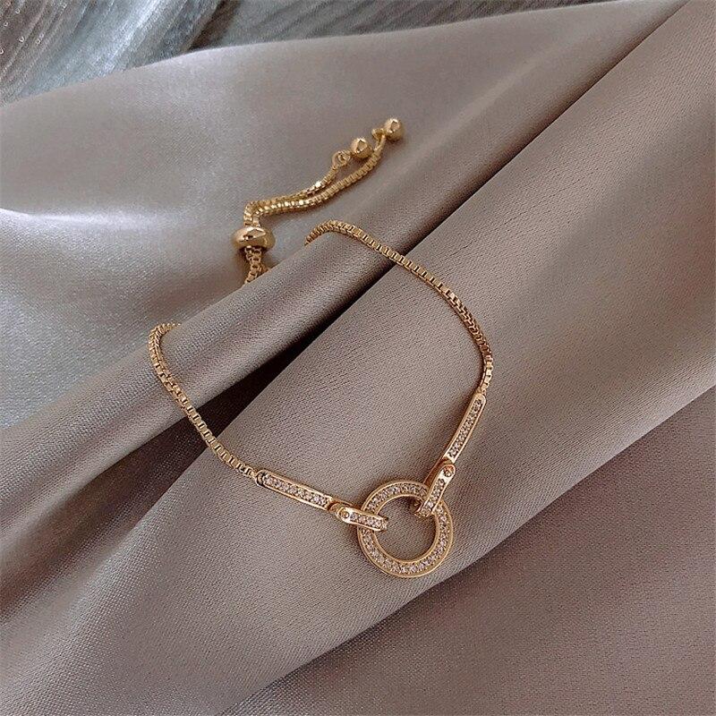 Moda simples aaa zircônia cúbica pingente pulseira para a mulher redonda brilhante cristal coreano bangle feminino 2019 novos presentes de jóias