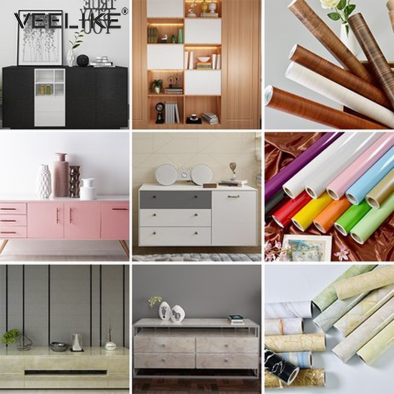 Waterproof Self Adhesive Wallpaper Peel and Stick Solid color F Kitchen Cabinet