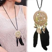 Hot Retro Bohemia Style Indiana Alloy Dream Catcher Feather Pendant Necklace Ethnic Jewelry Gift Drop Shippping NL-0641-GD(China)